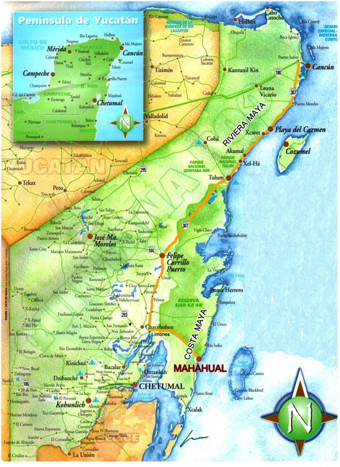 Q Roo Map   Tales From Mahahual Quintana Roo Map on