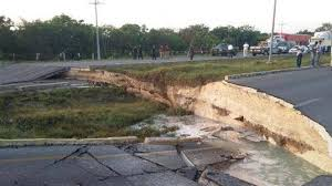 highway 307 sinkhole before